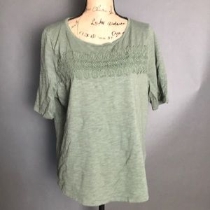 Talbots Embellished Tee - XL Short Sleeves Green